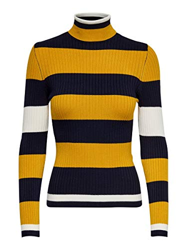 Only ONLKAROL L/S Rollneck Pullover KNT Noos Camiseta Cuello Alto, Azul (Night Sky Detail: W. Golden Yellow/Cloud Dancer), L para Mujer
