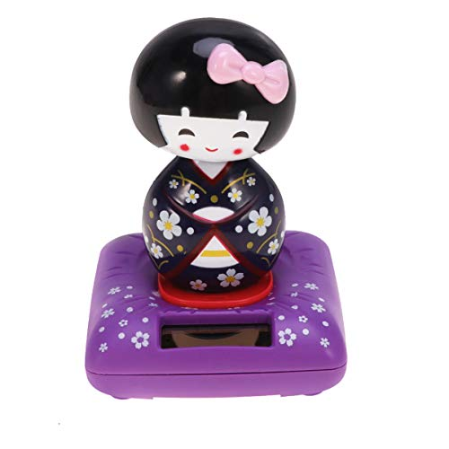 Amosfun Figura decorativa japonesa de Kokeshi con energía solar, diseño Bobble, color morado