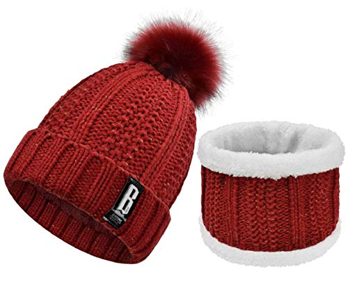 Yuson Girl Cappello del Bambino Bambino Carino Inverno Neonato Cappelli in Lana Maglia Orlo Cappello,Lana di Maglia (Rosso)