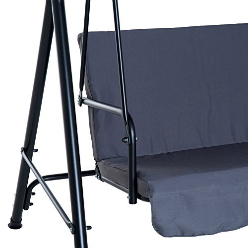 Outsunny Hollywoodschaukel Gartenschaukel Schaukelbank 3-Sitzer mit Dach Stahl Grau 172x110x152cm - 8