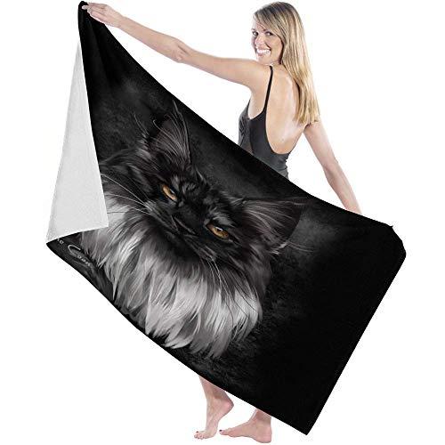 Toalla Beach Towels Toallas Shower Towels Bathroom Towels Gato Blanco Negro Animales,130CM X80CM