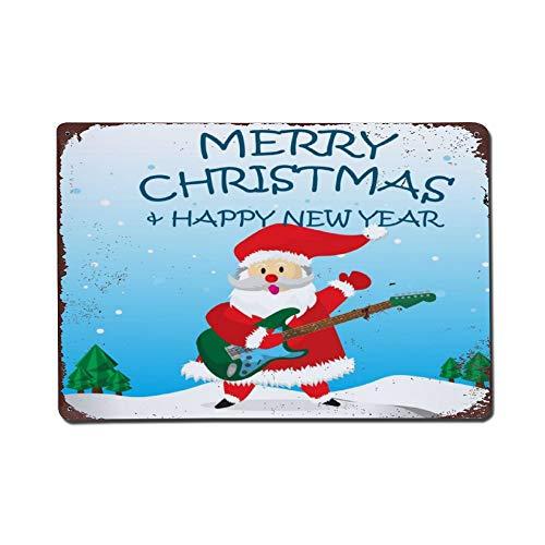 Wendana Kerstman Gelukkig Elektrische Gitaar En Vrolijk Kerstmis Metalen Tekenen Vintage Thuis Muurdecoratie Tin Tekenen Metalen Poster voor Garage Kids Kamer Kerstmis Verjaardagscadeaus