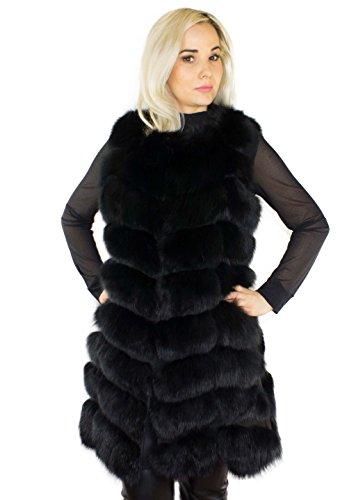 Unbekannt Pelweste Echtfell Echtpelz Weste aus Pelz echtes Fell Damen Mode lang schwarz