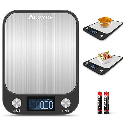 AUSYDE Küchenwaage Digitalwaage Electronische Waage Verwenden Sie Edelstahlplatten, Kitchen Weighing Scale Genauigkeit von bis zu 1 g(Maximal 15 kg wiegen) Küchenwaage mit LCD Display Tara-Funktion