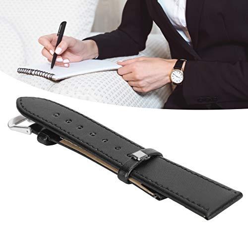 Correa de reloj de cuero PU, cómoda correa de reloj con hebilla de pasador de gran durabilidad práctica para el hogar para el taller de reparación de relojes(20mm black)