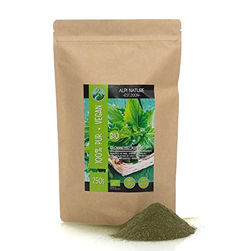 Ortiga orgánica en polvo (250g), ortiga molida, de cultivo biológico controlado, sin gluten, testada en laboratorio, vegana, 100% natural sin aditivos