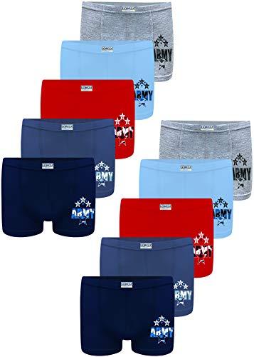 LOREZA ® 10 Pack Jungen Boxershorts aus Baumwolle Unterhosen 92-98 (2-3Jahre), Modell 6