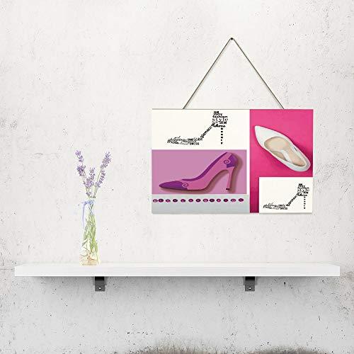 Free Brand Placa de madera para colgar en la pared, diseño de zapatos de novia con zapatos de tacón alto, color rosa