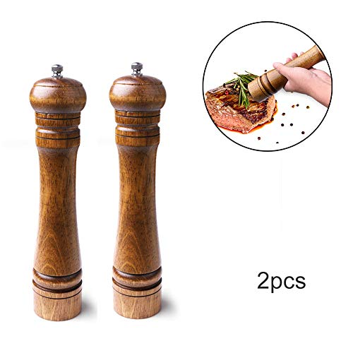 YLCQ Salt and Pepper Grinder Houten Zout en Peper Grinder,2 stks Keramisch Professionele Grote Houten Peper Molen Zoutmolen -8 in