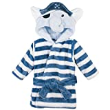 Hudson Baby Unisex Baby Plush Animal Face Bathrobe, Pirate Elephant, 0-9 Months