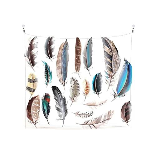 Tapiz de Pared,Ajuste Pluma Occidental con Partes del Cuerpo del Pájaro Pigmentado Crecimiento *Tapestry(Colgante de Pared) Decoración de Pared del hogar para Dormitorio Sala de Estar 150 x 150cm