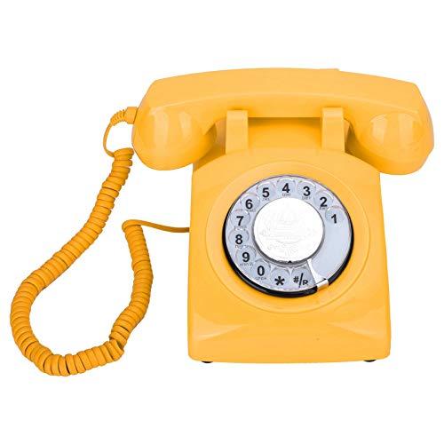 Zunate Teléfono Retro, teléfono de Escritorio con dial Antiguo, teléfono de línea Fija de Sistemas duales FSK/DTMF, para decoración del hogar, Oficina(Amarillo)