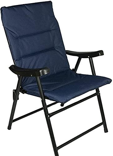 Silla Plegable al Aire Libre, Silla de Comedor de Cubierta para Acampar al Aire Libre del jardín con la Marina de Guerra del Acolchado de Lujo