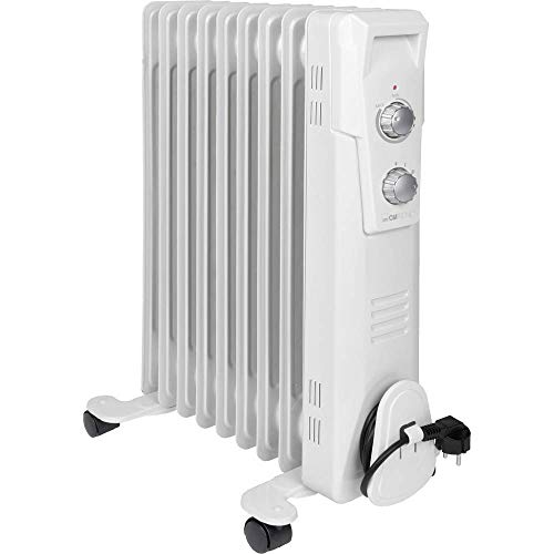 Clatronic RA 3736 9 Rippen-Ölradiator, mobiler Heizkörper bis 2000 Watt, Wärmeregulierung über stufenlosen Thermostatregler, Flexibler Einsatz durch 4 Leichtlaufrollen, Slimline-Bauweise, weiß