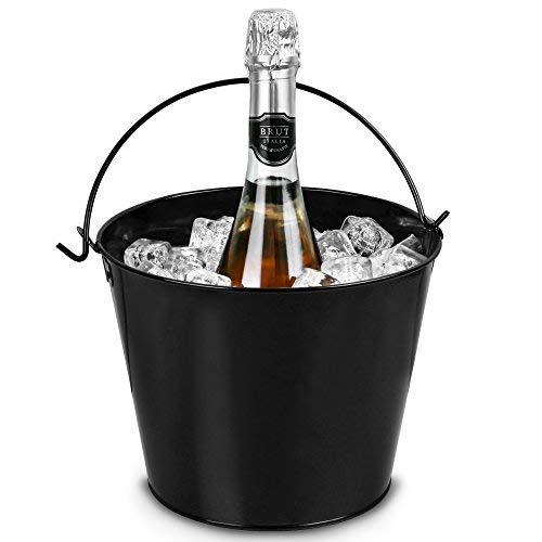 bar@drinkstuff Secchiello per il ghiaccio in acciaio nero 5,2 litri, refrigeratore per bottiglie, ideale per champagne e vino