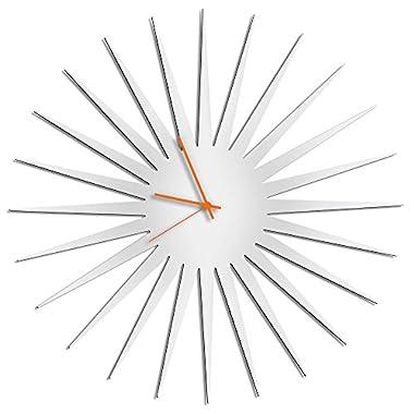 Sunburst Clock 'MCM Starburst Clock - White/Orange' Midcentury Modern Wall Clocks, Mid Century Vintage Style Decor - 23in. White w/Orange Hands
