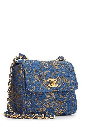 CHANEL Blue Brocade Shoulder Bag Mini (Renewed)