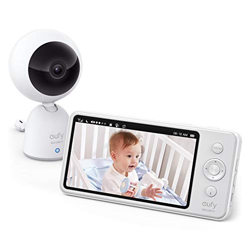 "eufy Security Video Baby Monitor, 720p Resolution, Large 5"" Display, All-Day Battery, 2-Way Audio, Night Vision, Lullaby Player, Temperature Alert, Ideal for New Moms, Pan & Tilt Not Supported Monitors"