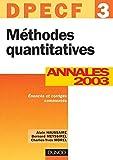 Méthodes quantitatives, DPECF numéro 3 - Annales 2003