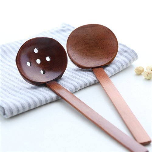 Stock Show 2Pcs Kitchen Unique-style Heat Resistant Ramen Noodles/Soup Nature Wooden Ladles