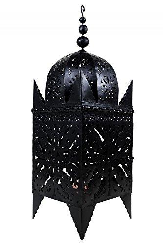 Orientalische Laterne aus Metall Schwarz Frane 120cm groß | Marokkanische Gartenlaterne für draußen, Innen als Bodenlaterne | Marokkanisches Gartenwindlicht Windlicht hängend oder zum hinstellen