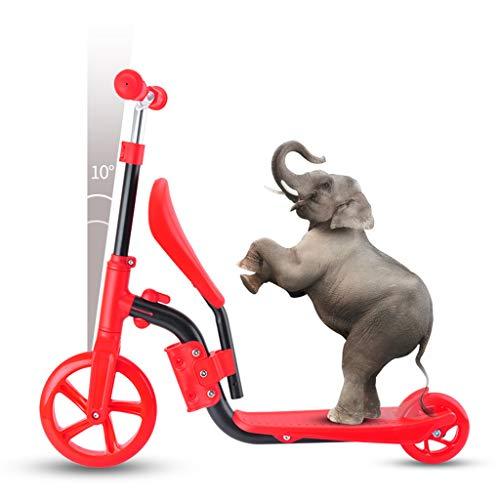 Kick Scooter Bike Für Kinder, 3 in 1 Balanced Scooter Fahrradhöhe Einstellbare Neigung Zum Lenken Von Riesenrädern Für Kinder Von 3 Bis 12 Jahren,Rot