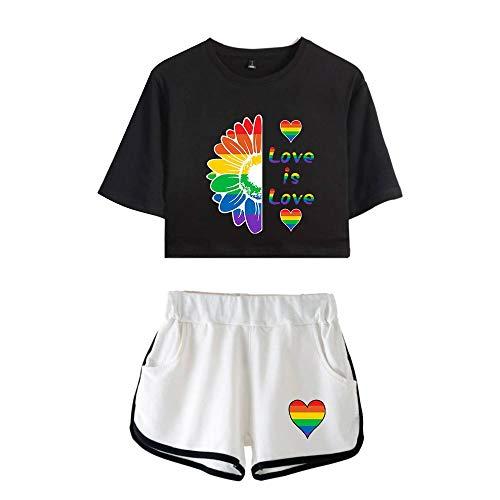Love is Love LGBT Gay Lesbian Pride Mujeres Camisetas Crop Top y Pantalones Cortos Ropa Corta Traje de Dos Piezas para Niñas Ropa Chándales Deportiva