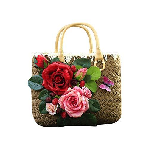 Bolso de playa bolso de mano de paja grandes bolsos de verano Jumbo bordado flor mujer letra Flora bolso 26X20CM