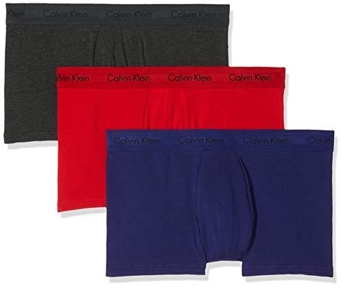 Calvin Klein Herren 3p Low Rise Trunk' Boxershorts, Rot (Manic Red/Shilo Blue/Charcoal H Hwb), Large (3er Pack)