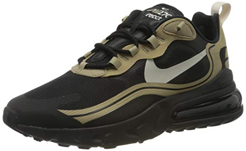 Nike Air Max 270 React, Scarpe da Corsa Uomo, Black/Light Bone-Khaki-Metallic Gold, 45.5 EU