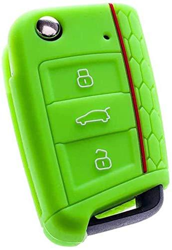 Funda de protección para llave de coche, funda de silicona para llave de coche, para Volkswagen VW Golf 7 MK7 Skoda Octavia A7, para SEAT Leon Ibiza 3, color verde