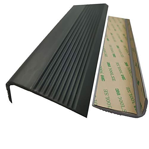 Nariz Antideslizante de Escalera Borde de paso de ángulo de 50x25mm para escaleras al aire libre interior PVC 1.5M Longitud Autoadhesivo Escalera anti resbalón sin deslizamiento Adecuado para Escalera