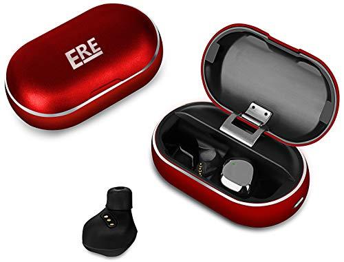 ERE Draadloze oordopjes, Bluetooth Hoofdtelefoon in Ear met ingebouwde microfoon, 120H van HIFI Stereo Geluid, Touch Control, IPX7 Waterdicht, Lichtgewicht oordopjes, Oortelefoon inclusief Opladen Case en Pouch, Rood