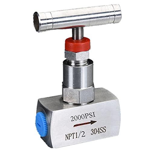 "Needle Valve 1/2"" inch NPT Stainless Steel Instrument Valve High Pressure Gauge Valve Water Oil Gas US (1/2"")"