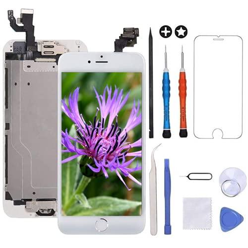 GULEEK Display per Bianco iPhone 6 Schermo 4,7  LCD Touch Screen Digitizer Parti di Ricambio (con Home Pulsante, Altoparlante, Fotocamera,Sensore Flex) Strumenti Inclusi