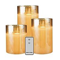 nuovo vetro marrone sembra molto raffinato Senza Fiamme e Utilizzo Più Sicuro: set di 3 candele a LED, non c'è la preoccupazione di incendiare o bruciare le altre cose, non può essere spento dal vento, è perfetto per l'uso d'esterno. Senza Bisogno di...