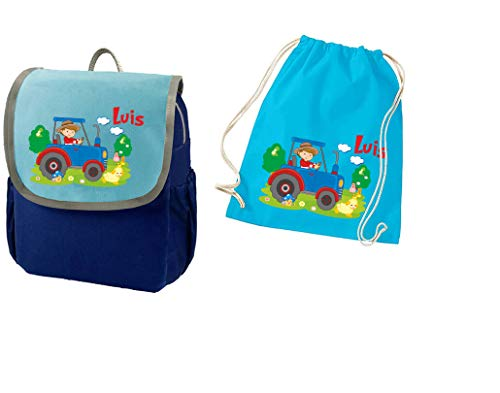 Mein Zwergenland Set 2 Kindergartenrucksack und Turnbeutel Happy Knirps Next mit Name Blau (Traktor Bauernhof)