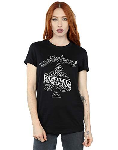 Absolute Cult Motorhead Mujer Ace of Spades Camiseta del Novio Fit Negro Large