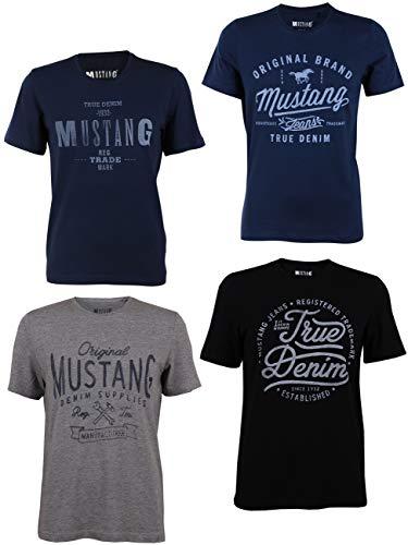 MUSTANG 4er Pack Herren T-Shirt mit Frontprint und Rundhalsausschnitt - Farbmix Blau, Schwarz, Grau und Weiß, Größe:M, Farbe:Farbmix (P11)