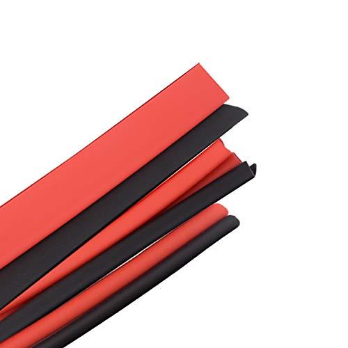 B4U Schrumpfschlauch Set, Schrumpfschläuche Sortiment Schrumpfverhältnis 2:1, Kabelverbinder Heat Shrink Tube Wire Wrap, 3 Meter(Schwarz 1,5M + Rot 1,5M), 5mm-14 mm Verschiedene Durchmesser