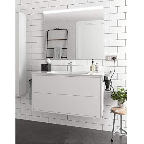 Yellowshop. - Mobile Bagno sospeso 100 cm Stile Moderno 2 cassetti lavabo specchiera LED MOD. Optimus (Bianco Opaco)