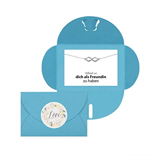 Lillyville - Geschenk für Beste Freundin, Lieblingsmensch mit Infinity Armband Silber und Karte -Glück ist, Dich als Freundin zu haben - Freundinnen Geschenk, Freundschaftsarmbänder - Umschlag Türkis