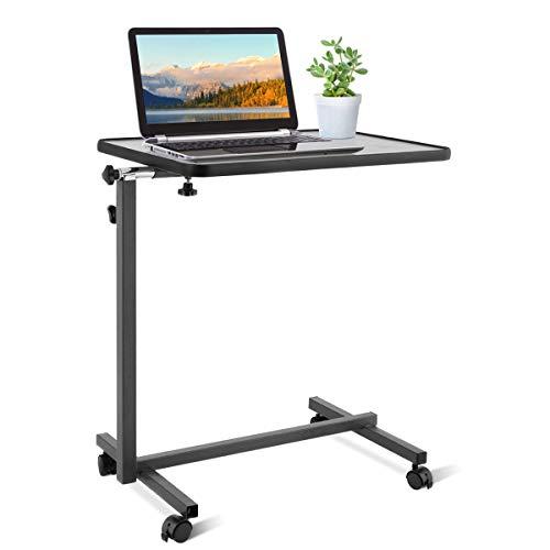 COSTWAY Laptoptisch höhenverstellbar, Pflegetisch Notebooktisch Betttisch Sofatisch Rolltisch, neigbare Tischplatte mit Rollen (Grau)