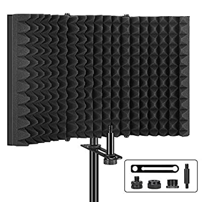 Isolation Shield,Aokeo Professional Microphone Shield,Foldable Adjustable Mic Isolator Panel, For Any Condenser Microphone Recording Equipment Studio (AO-403)