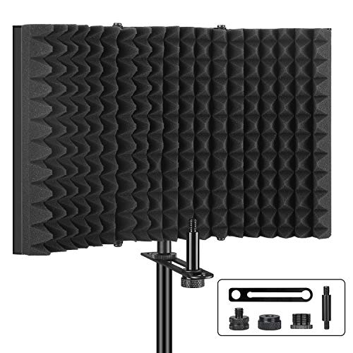 Aokeo Professional Studio Recording Microphone Isolation Shield, Pop Filter.High density absorbent foam is used to filter vocal. Suitable for Blue Yeti and any condenser microphone recording equipment