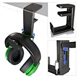 GoZheec PC Gaming Headphone Stand Holder, Under Desk Headset Headphone Hanger with Portable Spring Loaded Clamp and Adjustable 360 Rotating Arm, Built-in Double Cable Clip Organizers, Universal Fit