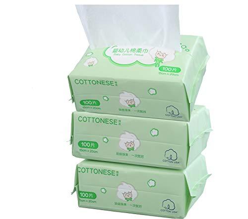 3 paquetes para el cuidado de la piel del bebé Almohadillas de tejido de algodón 100% Toallita suave y segura Cómodo, sin perfume, húmedo y seco Uso dual (300 toallitas en total)