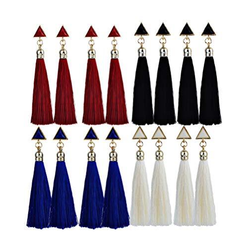 SUPVOX 8 Pares Pendientes de Borla Flecos Pendientes Colgantes Geométricos Joyería para Mujeres