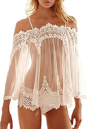LXLXCS Sexy Nightgown Sexy Underwear Women Bathrobe Translucent Temptation Nightgown Set Flirting Sexy Lingerie Adult Erotic Sex Accessories (Color : White)