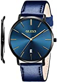 OLEVS Mens Watches Thin Leather Band for Male College Students Royal Blue Minimalist Watch Slim Big Face Waterproof Simple Casual Large Dial Dress Analog Quartz Wrist Watch with Strap Classic Gifts